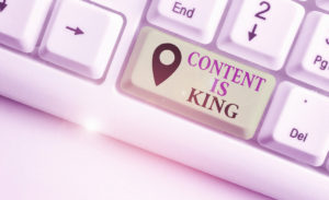 SEO Strategies - Content Is King. Business concept for Content is the heart of todays marketing strategies