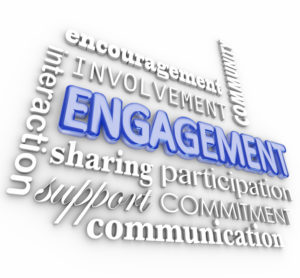 Outreach SEO strategies - Engagment word in 3d letters with related terms such as interaction, participation, involvement, encouragement, community, support, communication and sharing